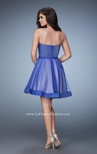 Picture of: Short Party Dress with Tulle Skirt and Satin Trim, Style: 23354, Back Picture
