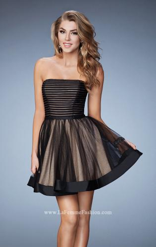 Picture of: Short Party Dress with Tulle Skirt and Satin Trim, Style: 23354, Detail Picture 1