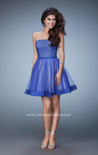 Picture of: Short Party Dress with Tulle Skirt and Satin Trim, Style: 23354, Detail Picture 2
