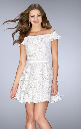 Picture of: Off the Shoulder Short Lace Dress with Flared Skirt, Style: 23361, Main Picture