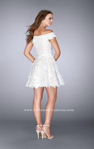 Picture of: Off the Shoulder Short Lace Dress with Flared Skirt, Style: 23361, Back Picture