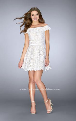 Picture of: Off the Shoulder Short Lace Dress with Flared Skirt, Style: 23361, Detail Picture 1