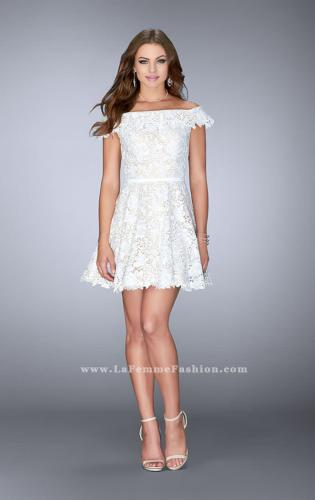 Picture of: Off the Shoulder Short Lace Dress with Flared Skirt, Style: 23361, Detail Picture 2