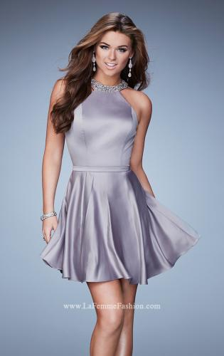 Picture of: Short Jersey Dress with Keyhole and Rhinestones, Style: 23365, Main Picture