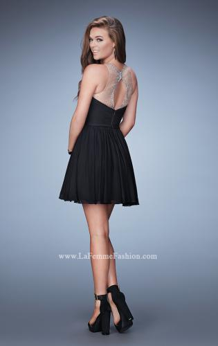 Picture of: Short Cap Sleeves Lace Dress with Flared Skirt, Style: 23367, Back Picture