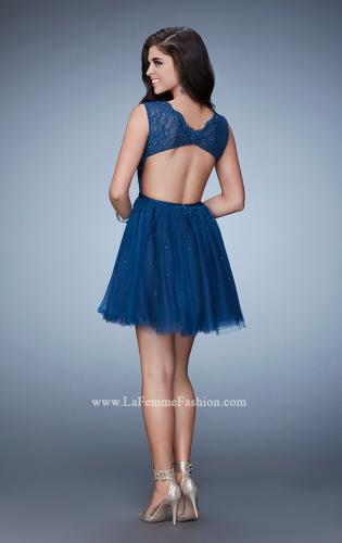 Picture of: Short Dress with Tulle Skirt and Rhinestones, Style: 23380, Back Picture