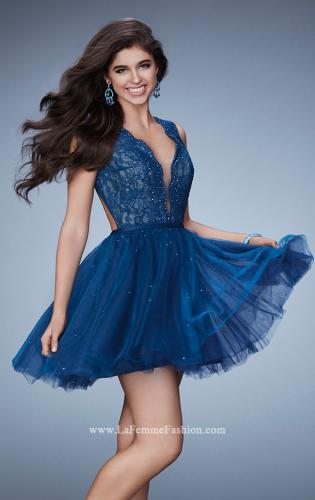 Picture of: Short Dress with Tulle Skirt and Rhinestones, Style: 23380, Detail Picture 2