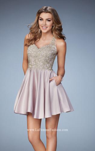 Picture of: Short A-line Dress with Beads, Lace, and Pockets, Style: 23393, Main Picture