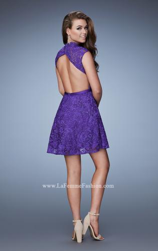 Picture of: Short Lace Dress with high Neckline and Open Back, Style: 23409, Back Picture