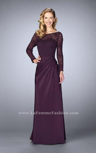 Picture of: Beaded Lace Bodice Evening Dress with Sheer Sleeves, Style: 23435, Detail Picture 1