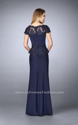 Picture of: Belted Evening Dress with Embroidered Peplum, Style: 23444, Back Picture