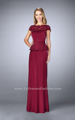 Picture of: Belted Evening Dress with Embroidered Peplum, Style: 23444, Detail Picture 1
