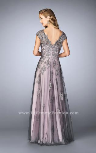 Picture of: Tulle Evening Gown with Embroidery and Cap Sleeves, Style: 23449, Back Picture