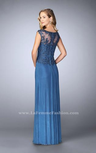 Picture of: Net evening Gown with Sheer Neckline, Style: 23456, Back Picture