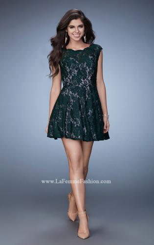 Picture of: Scalloped Lace Short Sleeve Homecoming Dress, Style: 23467, Detail Picture 1