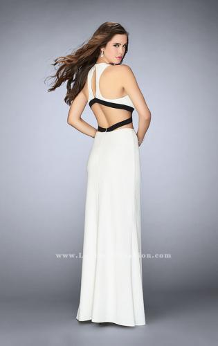 Picture of: Fitted Black and White Homecoming Dress with Cut Outs, Style: 23468, Back Picture
