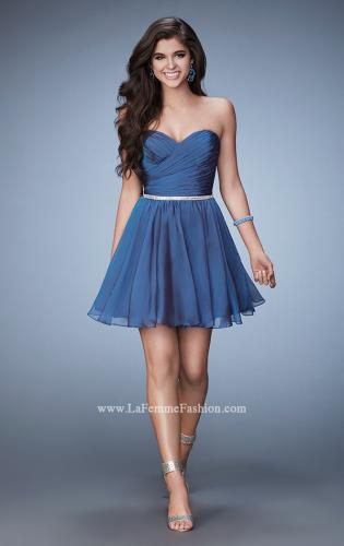 Picture of: Strapless Chiffon Short Dress with Beaded Belt, Style: 23482, Detail Picture 1