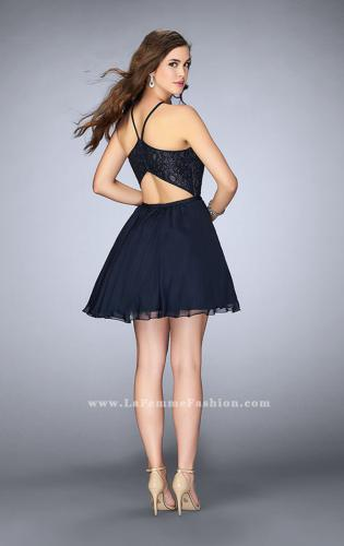 Picture of: High Neck Short Dress with Lace Bodice, Style: 23483, Back Picture