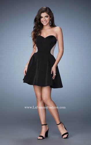 Strapless black mini dress by la femme 15841233