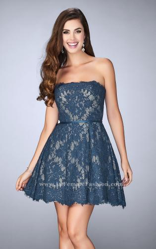 Picture of: Strapless Lace Dress with Flared Skirt and a Thin Belt, Style: 23495, Main Picture