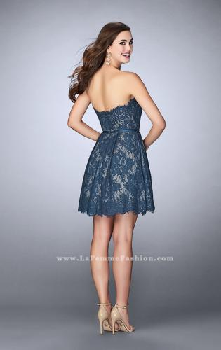 Picture of: Strapless Lace Dress with Flared Skirt and a Thin Belt, Style: 23495, Back Picture