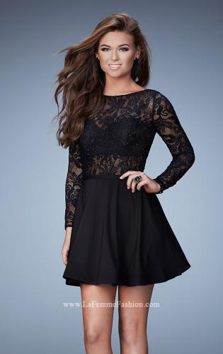 Picture of: Long Sleeve Cocktail Dress with High Neck and Stones, Style: 23501, Main Picture