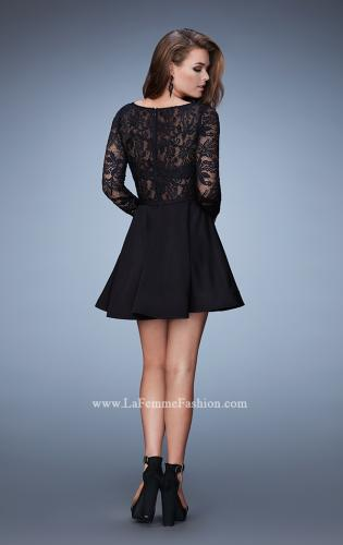 Picture of: Long Sleeve Cocktail Dress with High Neck and Stones, Style: 23501, Back Picture