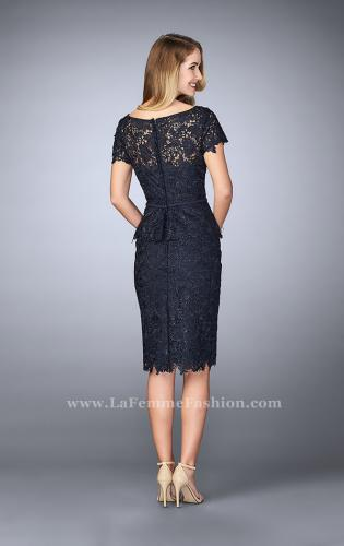 Picture of: Knee Length Peplum Lace Dress with Thin Belt, Style: 23505, Back Picture
