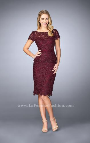 Picture of: Knee Length Peplum Lace Dress with Thin Belt, Style: 23505, Detail Picture 1