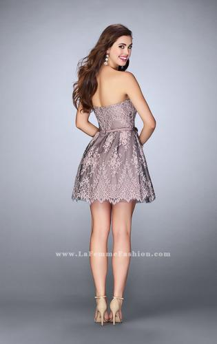 Picture of: Short Homecoming Dress with Scalloped Hem and Bow, Style: 23519, Back Picture