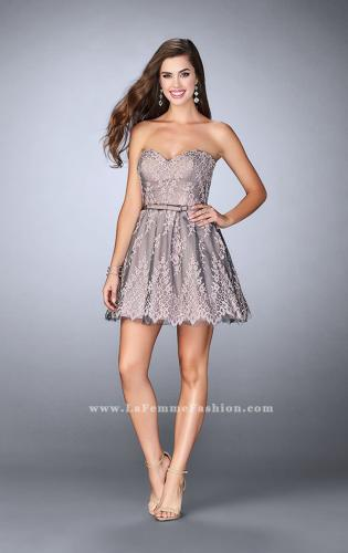 Picture of: Short Homecoming Dress with Scalloped Hem and Bow, Style: 23519, Detail Picture 1