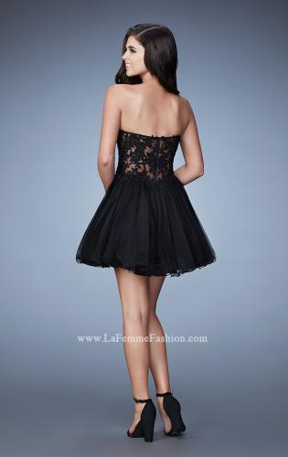 Picture of: Embroidered Short Dress with a Sheer Illusion Bodice, Style: 23523, Back Picture