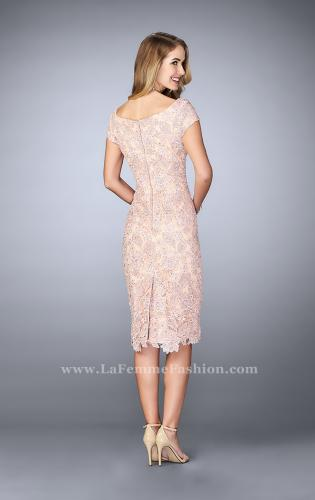 Picture of: Knee Length Gown with Scattered Beading, Style: 23552, Back Picture