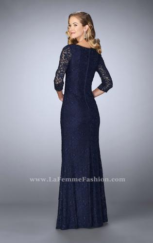 Picture of: Floor Length Beaded Dress with 3/4 Sleeves, Style: 23588, Back Picture