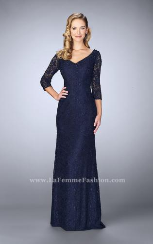 Picture of: Floor Length Beaded Dress with 3/4 Sleeves, Style: 23588, Detail Picture 1