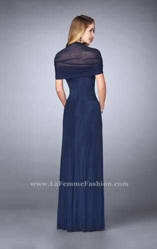 Picture of: Evening Dress with Attached Shoulder Wrap, Style: 23623, Back Picture