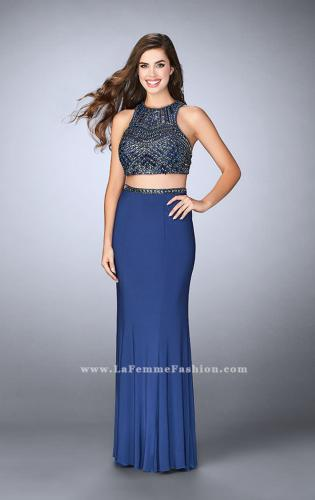 Picture of: Beaded Two Piece Gown with Racer Back and Belt, Style: 23759, Detail Picture 1