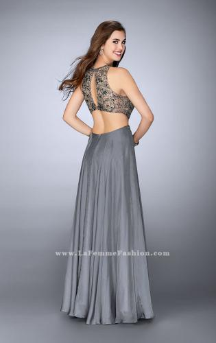 Picture of: Long Prom Dress with Beaded Top and Cut Outs, Style: 23761, Back Picture