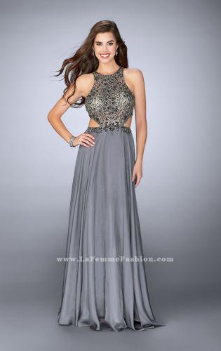 Picture of: Long Prom Dress with Beaded Top and Cut Outs, Style: 23761, Detail Picture 1