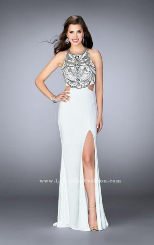 Picture of: Fitted Prom Dress with High Neckline and Beading, Style: 23764, Main Picture