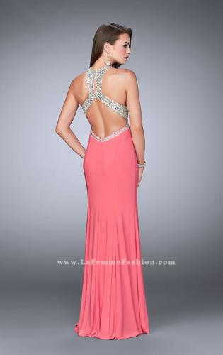 Picture of: High Neck Jersey Gown with Beaded Top and Open Back, Style: 23770, Back Picture