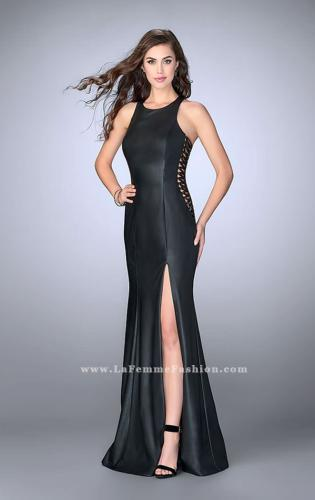 Picture of: Vegan Leather Prom Dress with Lace Up Sides and Slit, Style: 23806, Main Picture