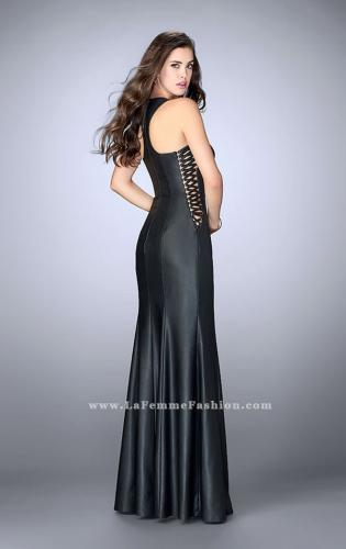 Picture of: Vegan Leather Prom Dress with Lace Up Sides and Slit, Style: 23806, Back Picture