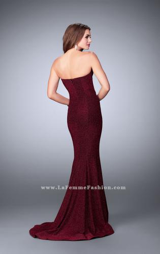 Picture of: Long Strapless Sparkly Prom Jersey Dress with Train, Style: 23834, Back Picture