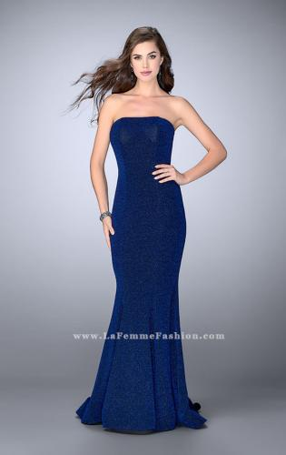Picture of: Long Strapless Sparkly Prom Jersey Dress with Train, Style: 23834, Detail Picture 1