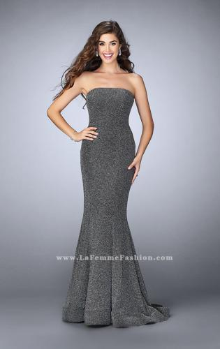 Picture of: Long Strapless Sparkly Prom Jersey Dress with Train, Style: 23834, Detail Picture 2