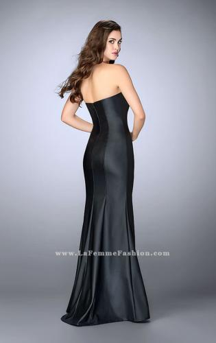 Picture of: Strapless Vegan Leather Dress with Lace Up Top, Style: 23835, Back Picture