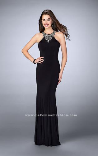 Picture of: Jersey Prom Dress with Beaded Neckline and Open Back, Style: 23850, Detail Picture 1