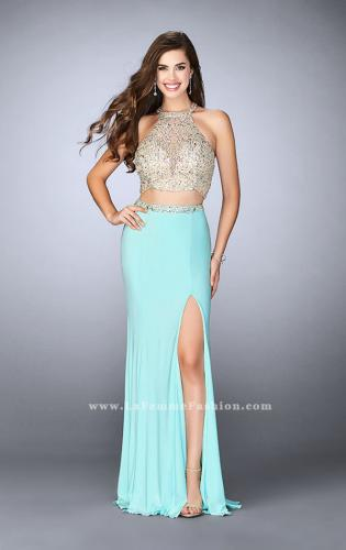 Picture of: High Neck Two Piece Dress With a Sheer Beading, Style: 23853, Main Picture