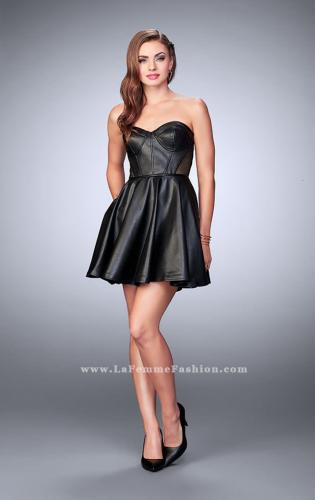 Picture of: Short Vegan Leather Dress with Fishnet Back, Style: 23871, Detail Picture 1